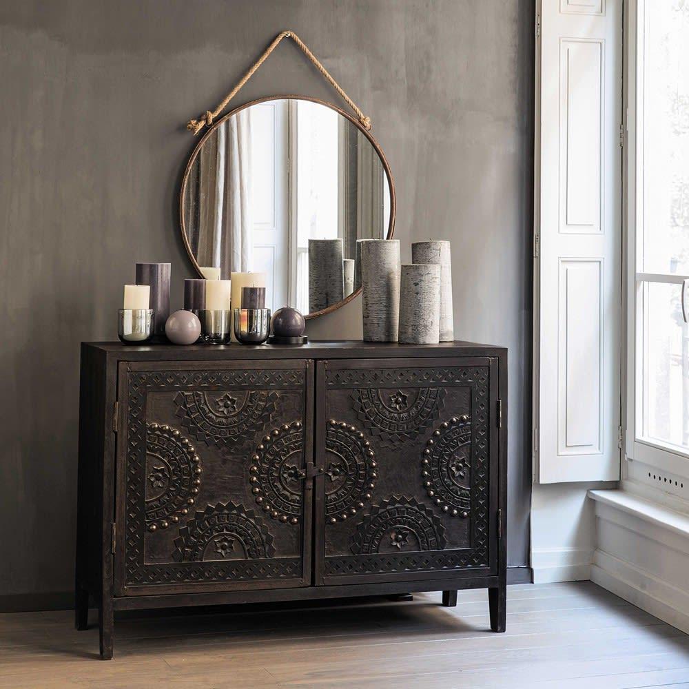 buffet sculpt en manguier marron l 115 cm mozambique. Black Bedroom Furniture Sets. Home Design Ideas