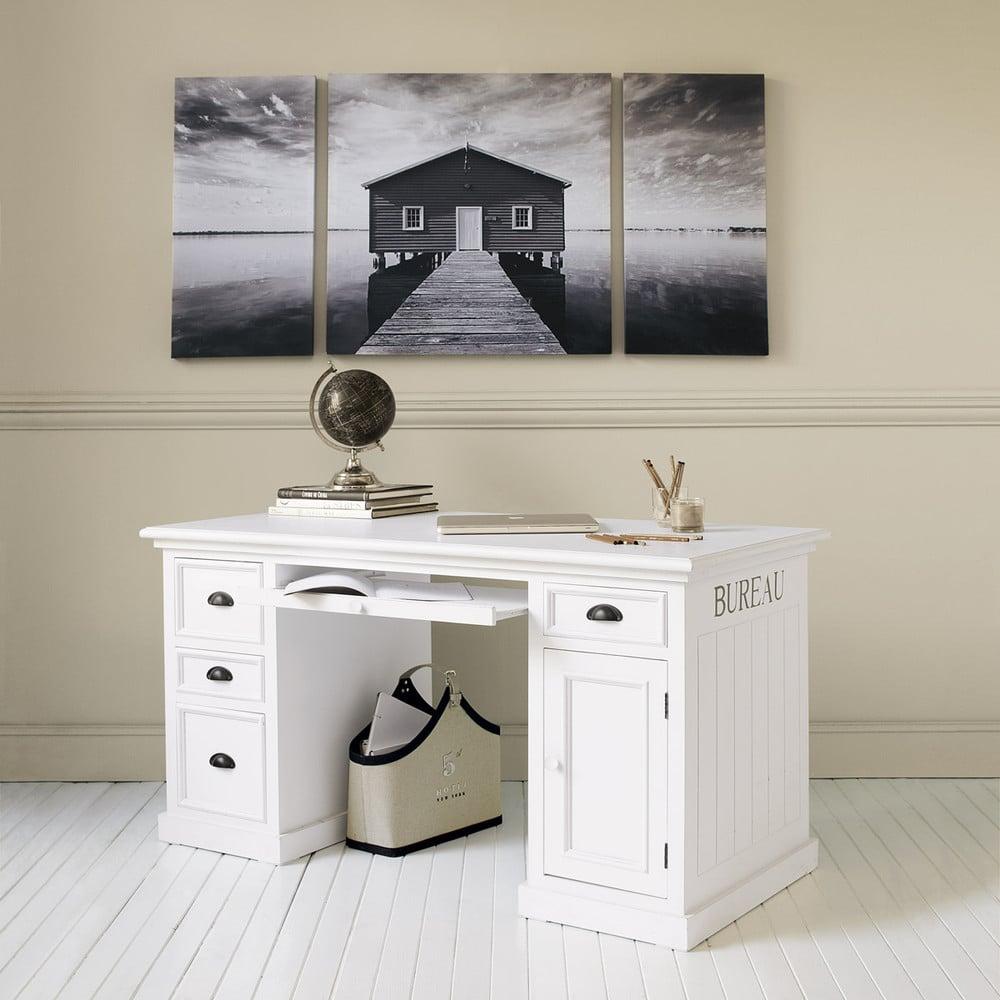 bureau 1 porte 4 tiroirs blanc newport maisons du monde. Black Bedroom Furniture Sets. Home Design Ideas