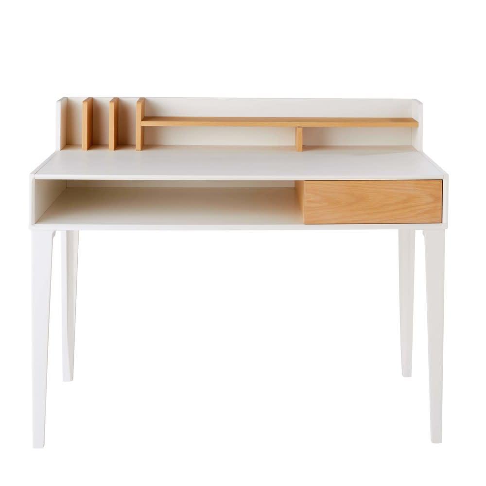 bureau 1 tiroir blanc kara maisons du monde. Black Bedroom Furniture Sets. Home Design Ideas