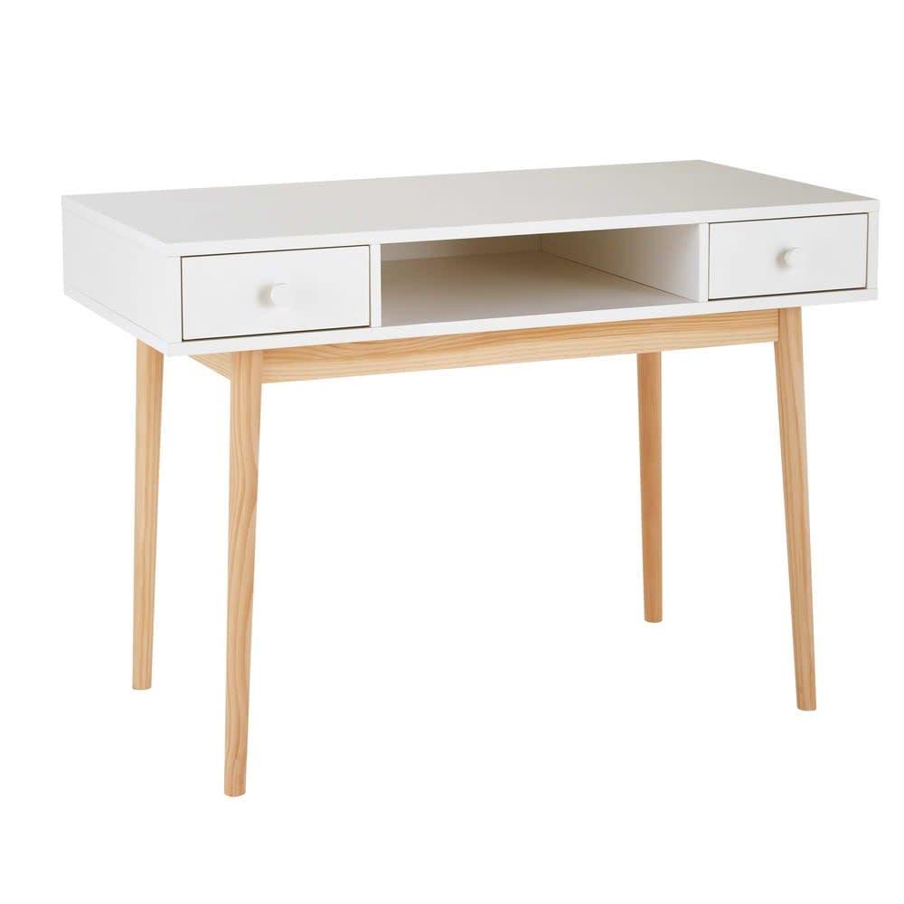 bureau 2 tiroirs blanc joy maisons du monde