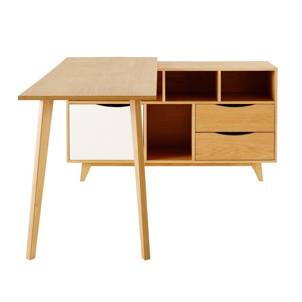 bureau d 39 angle 1 porte 2 tiroirs poppins maisons du monde. Black Bedroom Furniture Sets. Home Design Ideas