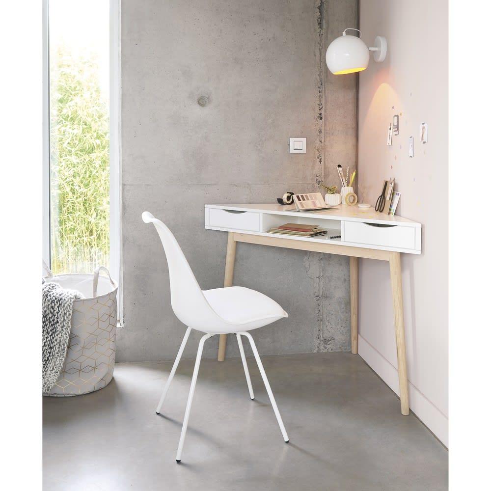 bureau d 39 angle vintage blanc artic maisons du monde. Black Bedroom Furniture Sets. Home Design Ideas