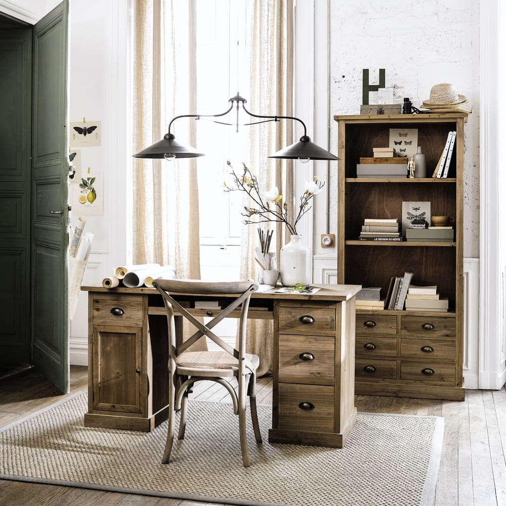 bureau en sapin p rigord maisons du monde. Black Bedroom Furniture Sets. Home Design Ideas