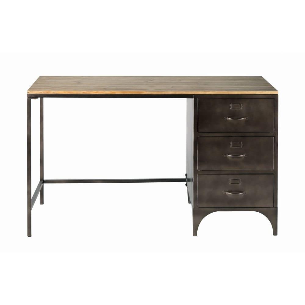 bureau indus 3 tiroirs en m tal et sapin wayne maisons. Black Bedroom Furniture Sets. Home Design Ideas
