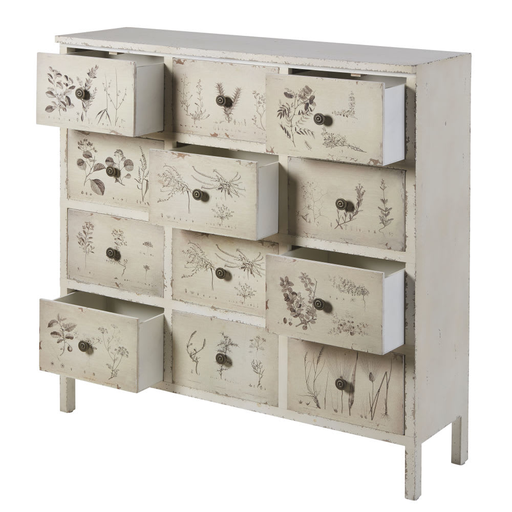 cabinet de rangement 12 tiroirs imprim floral ivoire. Black Bedroom Furniture Sets. Home Design Ideas
