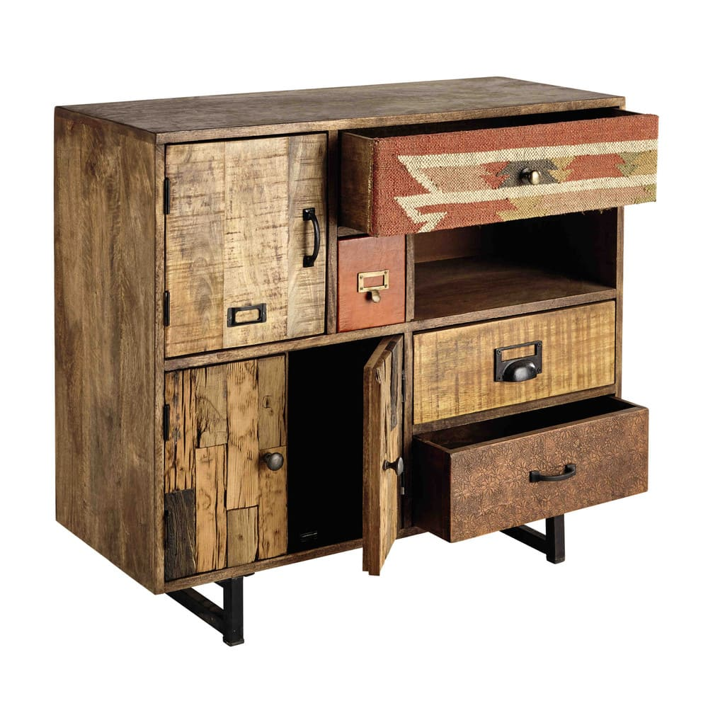cabinet de rangement 2 portes 4 tiroirs en manguier kilim. Black Bedroom Furniture Sets. Home Design Ideas