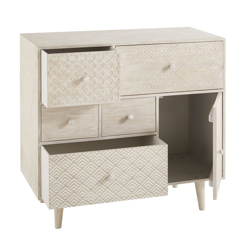 cabinet de rangement 5 tiroirs et 1 porte blanc cass zen. Black Bedroom Furniture Sets. Home Design Ideas