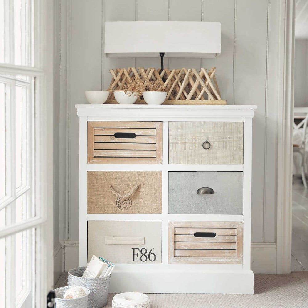 cabinet de rangement 6 tiroirs blanc ouessant maisons du. Black Bedroom Furniture Sets. Home Design Ideas
