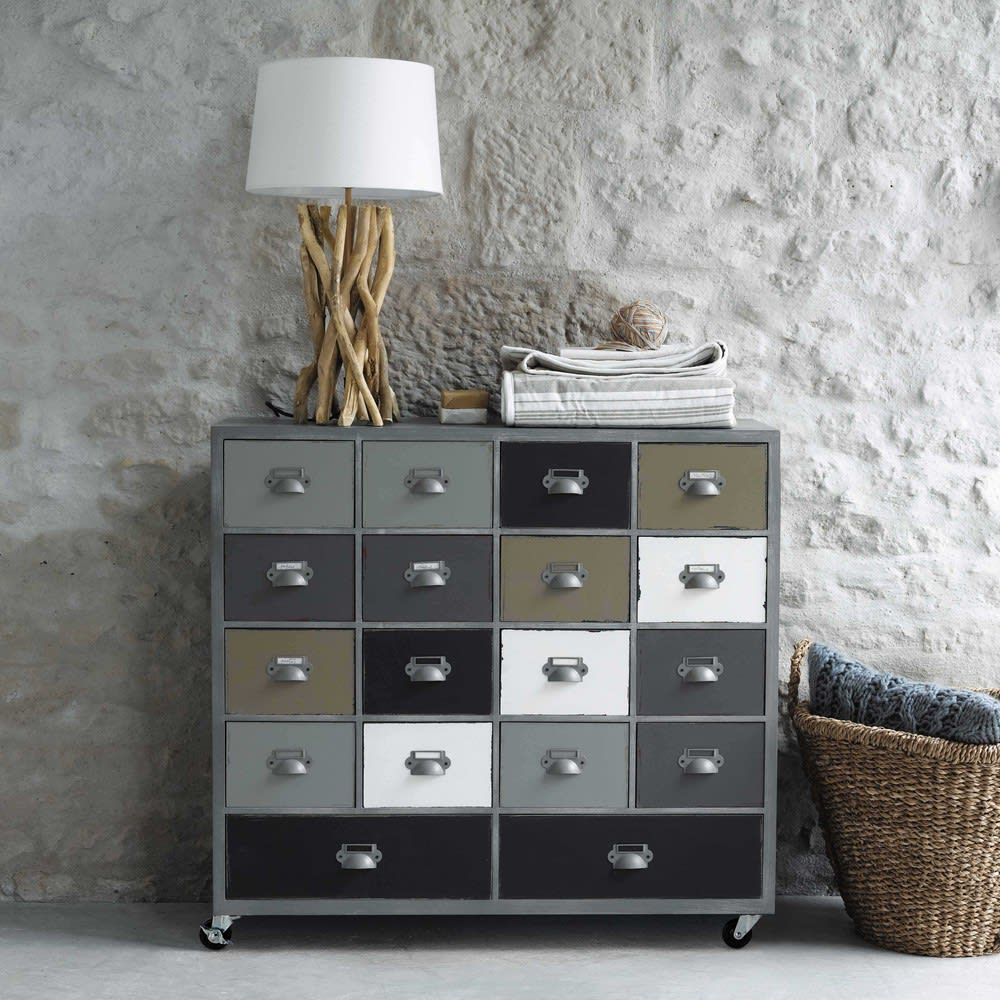 cabinet de rangement roulettes gris l 85 cm od on. Black Bedroom Furniture Sets. Home Design Ideas