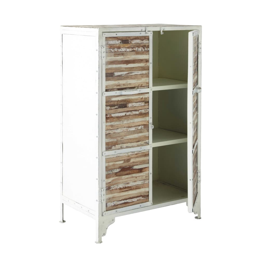 cabinet de rangement en m tal blanc l 75 cm mistral. Black Bedroom Furniture Sets. Home Design Ideas