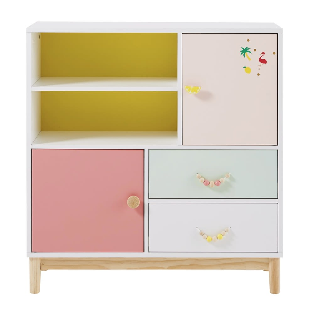 cabinet de rangement enfant 2 portes 2 tiroirs tropicool. Black Bedroom Furniture Sets. Home Design Ideas
