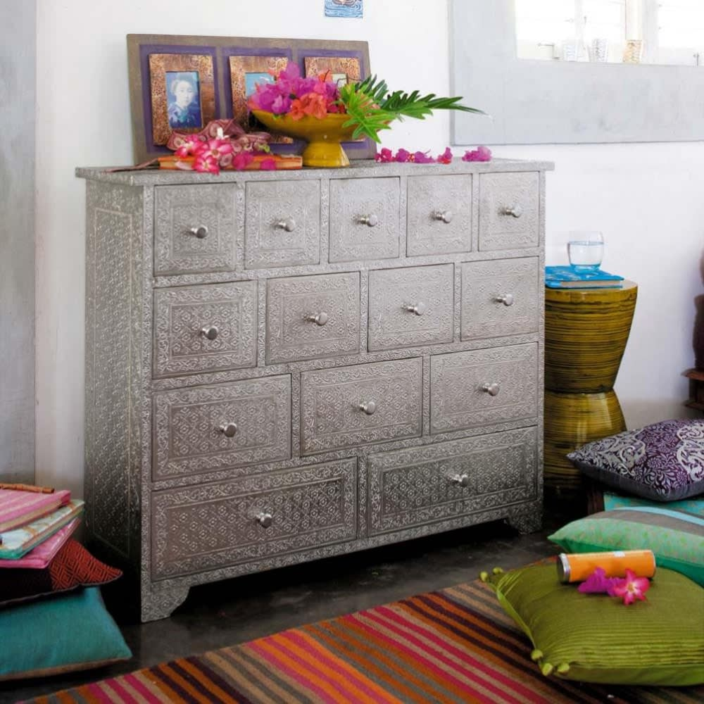 cabinet de rangement indien argent ja pur maisons du monde. Black Bedroom Furniture Sets. Home Design Ideas