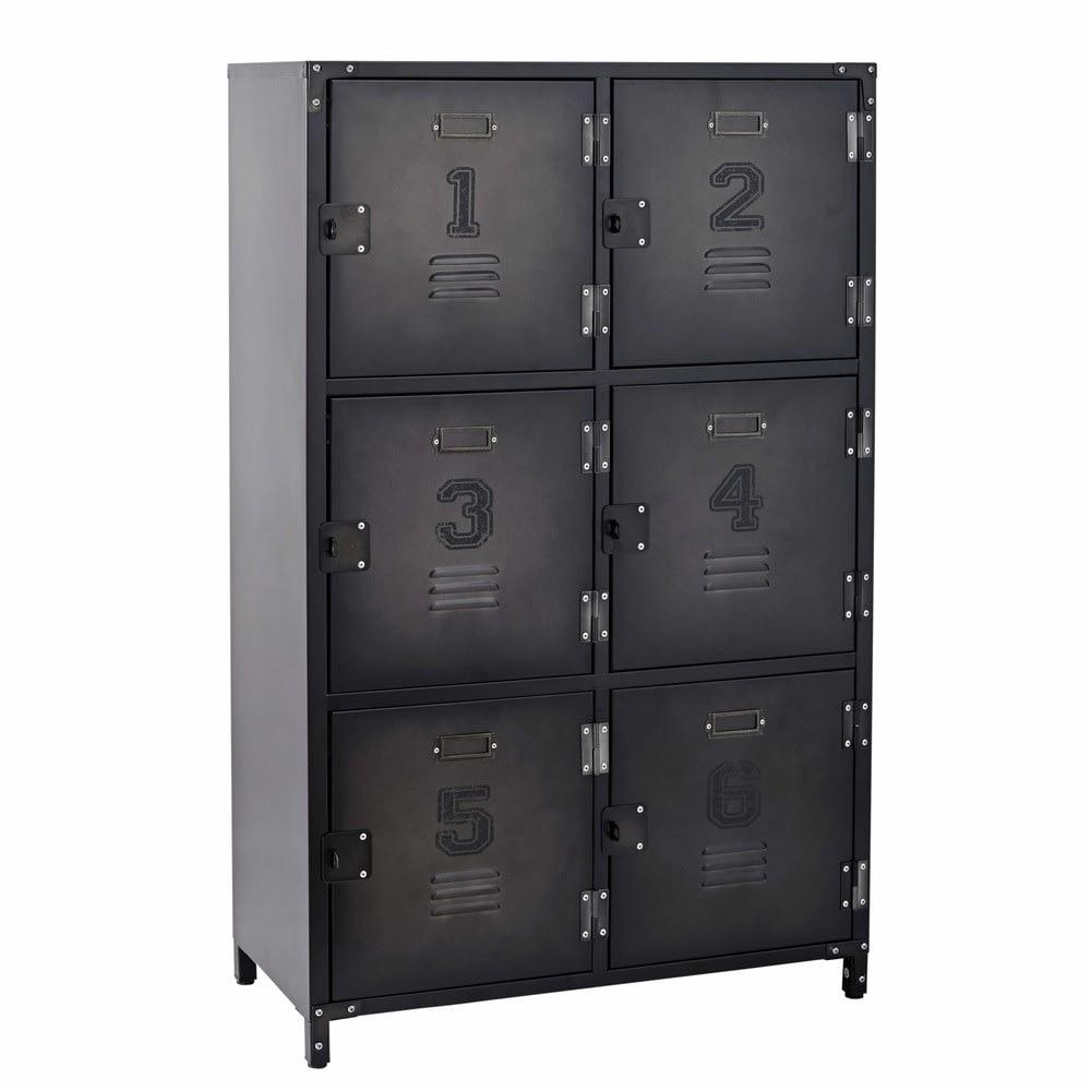 cabinet de rangement indus 6 casiers en métal andrews   maisons du monde