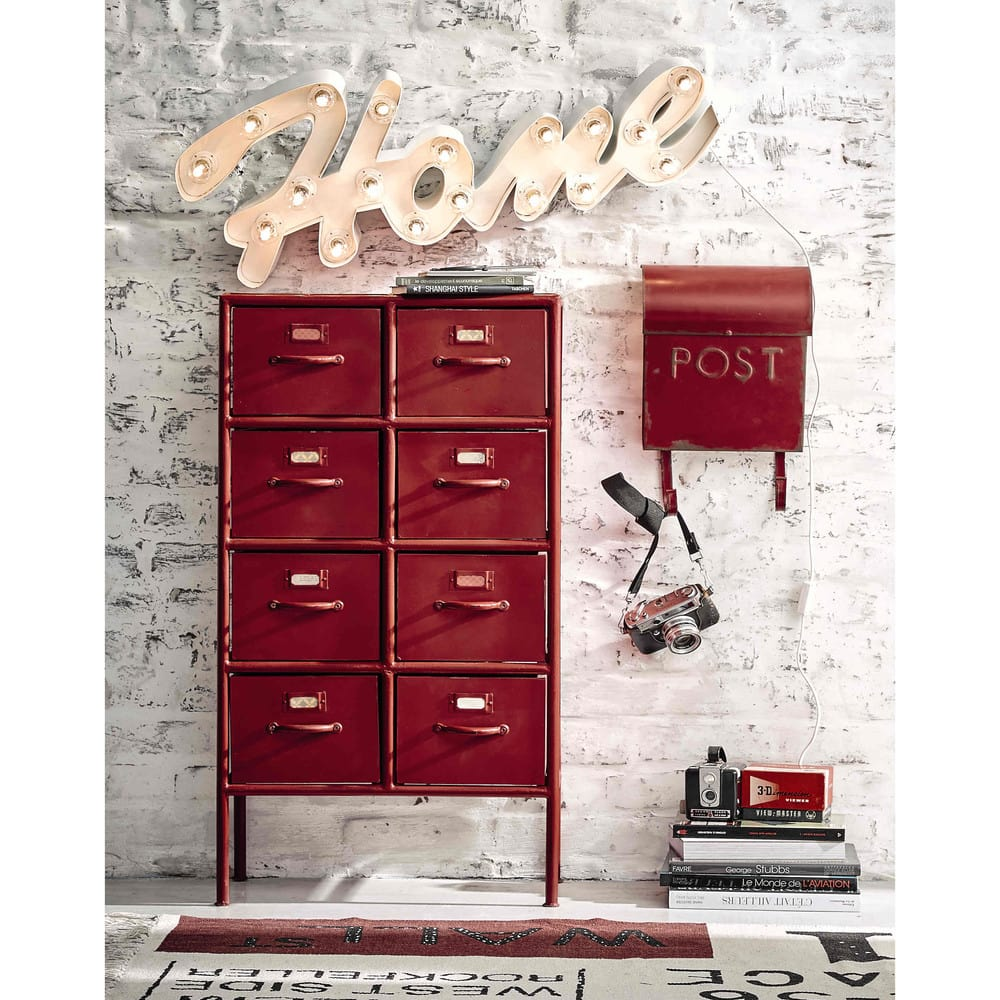 cabinet de rangement indus en m tal rouge l 52 cm. Black Bedroom Furniture Sets. Home Design Ideas