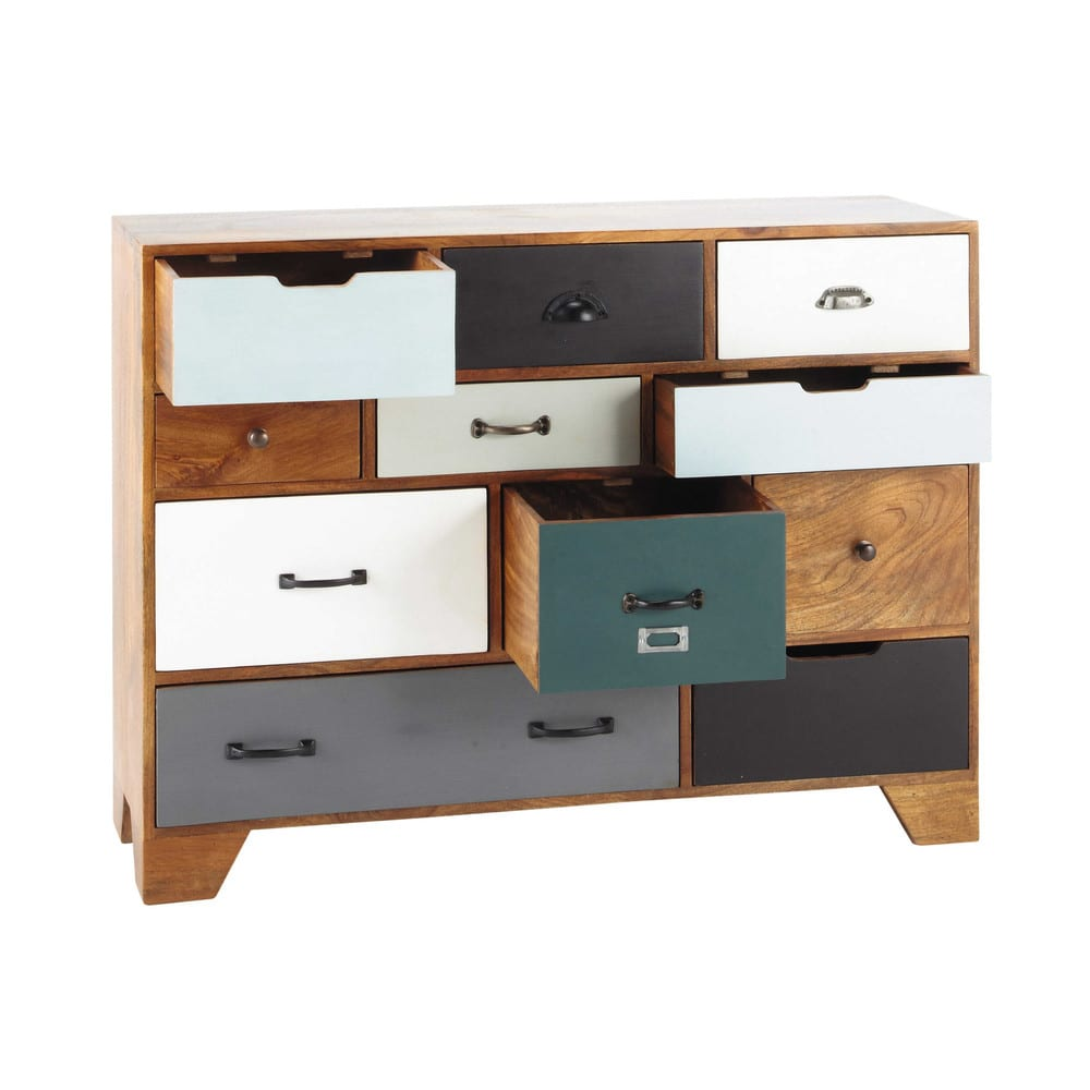 cabinet de rangement vintage en manguier massif l 114 cm. Black Bedroom Furniture Sets. Home Design Ideas