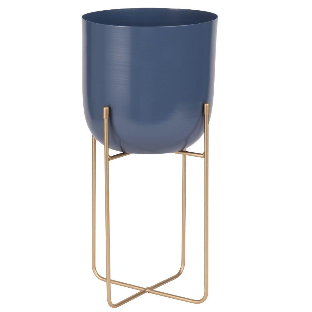 cache pot bleu sur pieds en m tal dor h40 maisons du monde. Black Bedroom Furniture Sets. Home Design Ideas