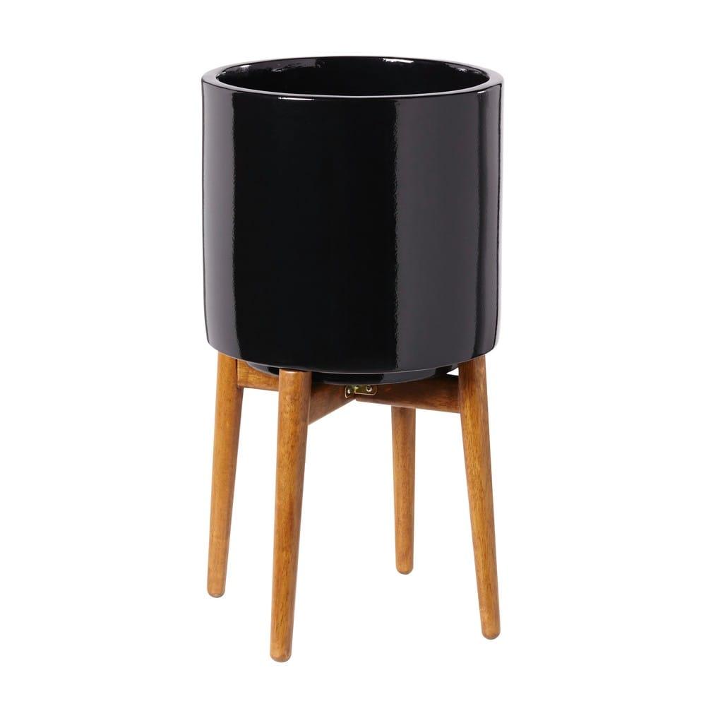 cache pot en c ramique noire h43 paulo maisons du monde. Black Bedroom Furniture Sets. Home Design Ideas