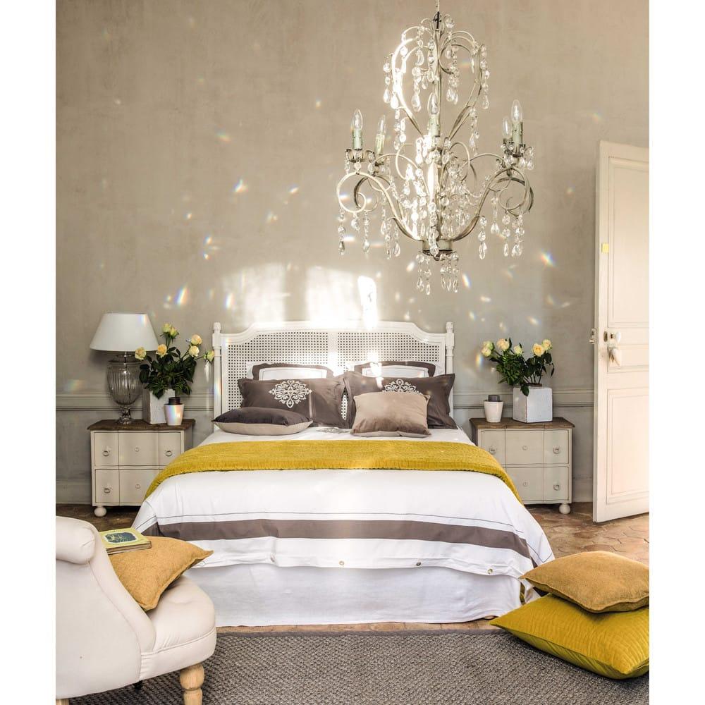 cache sommier 180 x 200 cm en lin lav blanc maisons du monde. Black Bedroom Furniture Sets. Home Design Ideas