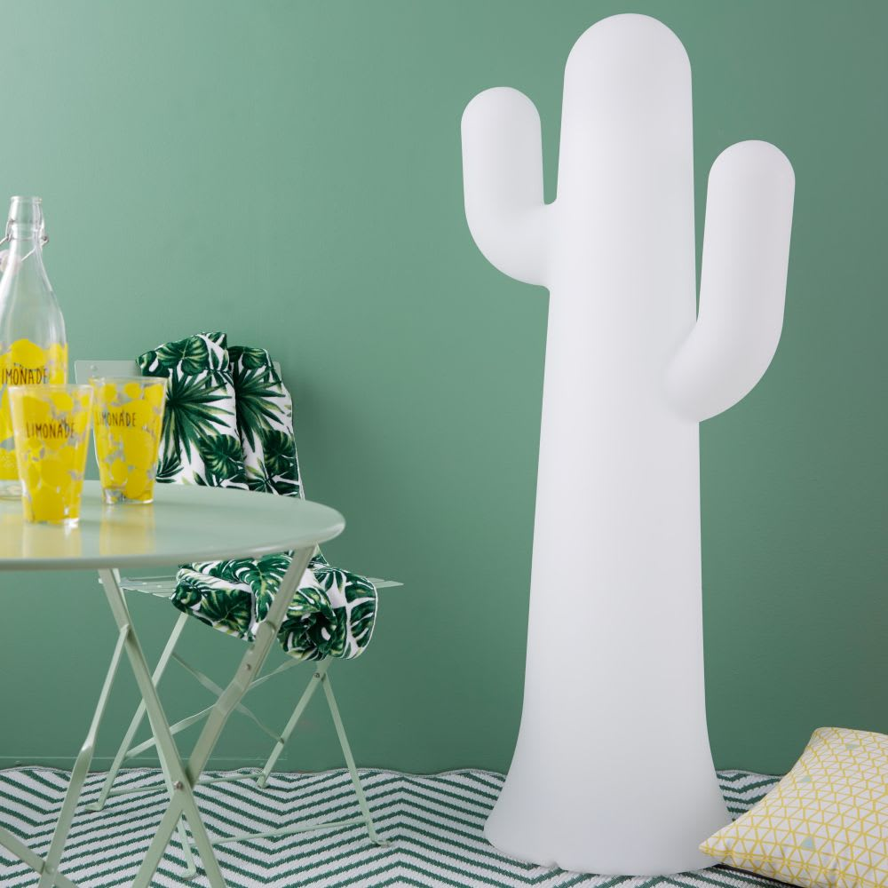 cactus d 39 ext rieur lumineux en r sine blanche rodrigo maisons du monde. Black Bedroom Furniture Sets. Home Design Ideas