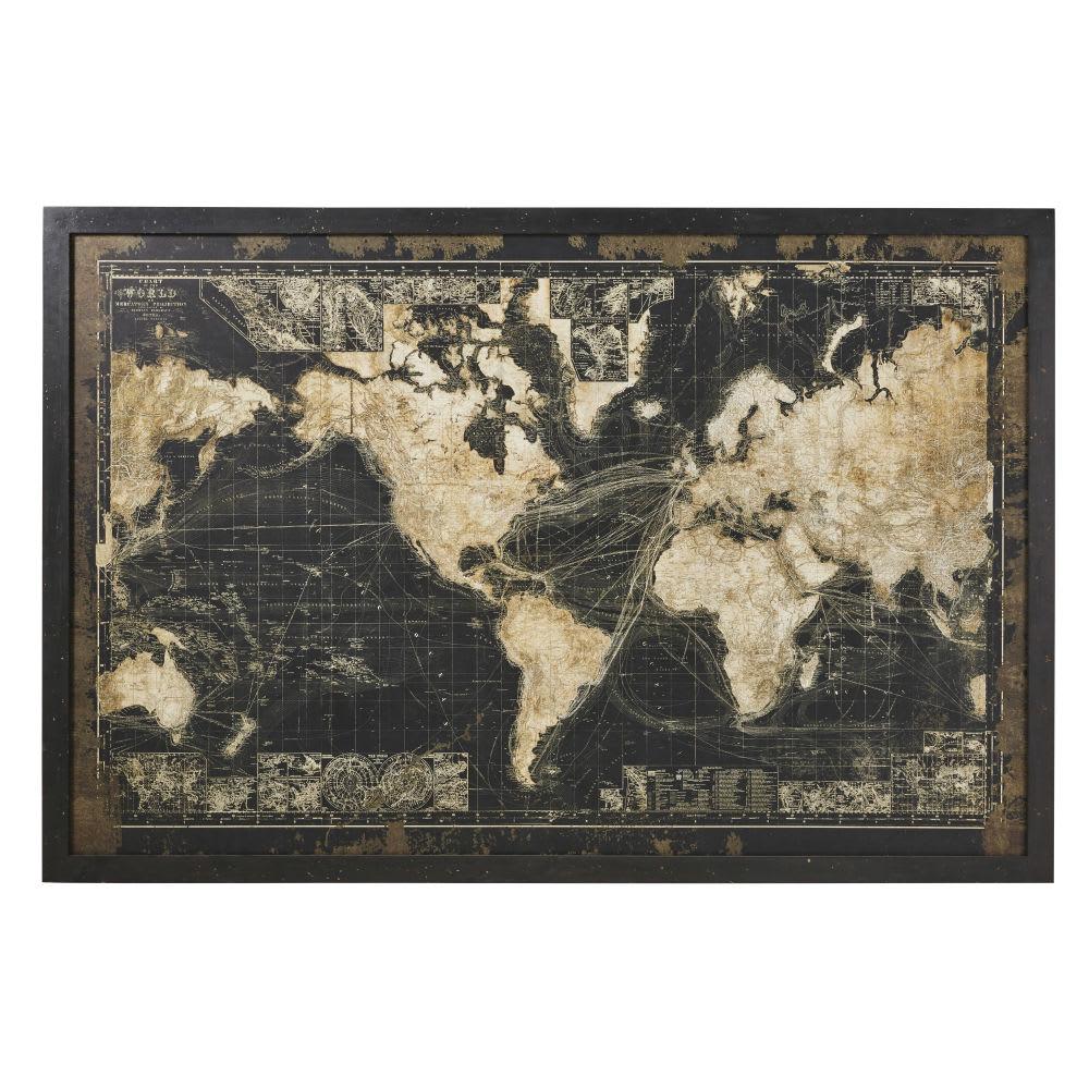 cadre lumineux carte du monde noire 180x120 prescott. Black Bedroom Furniture Sets. Home Design Ideas