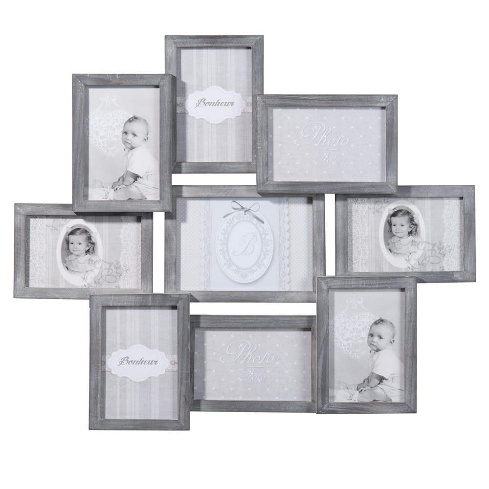 Cadre photo gris 9 vues 50 x 58 cm Relief | Maisons du Monde