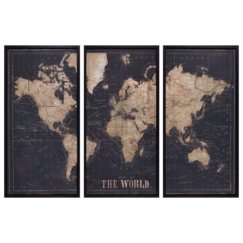 Cadre triptyque carte du monde noir 180x120 explore Tableau maisons du monde