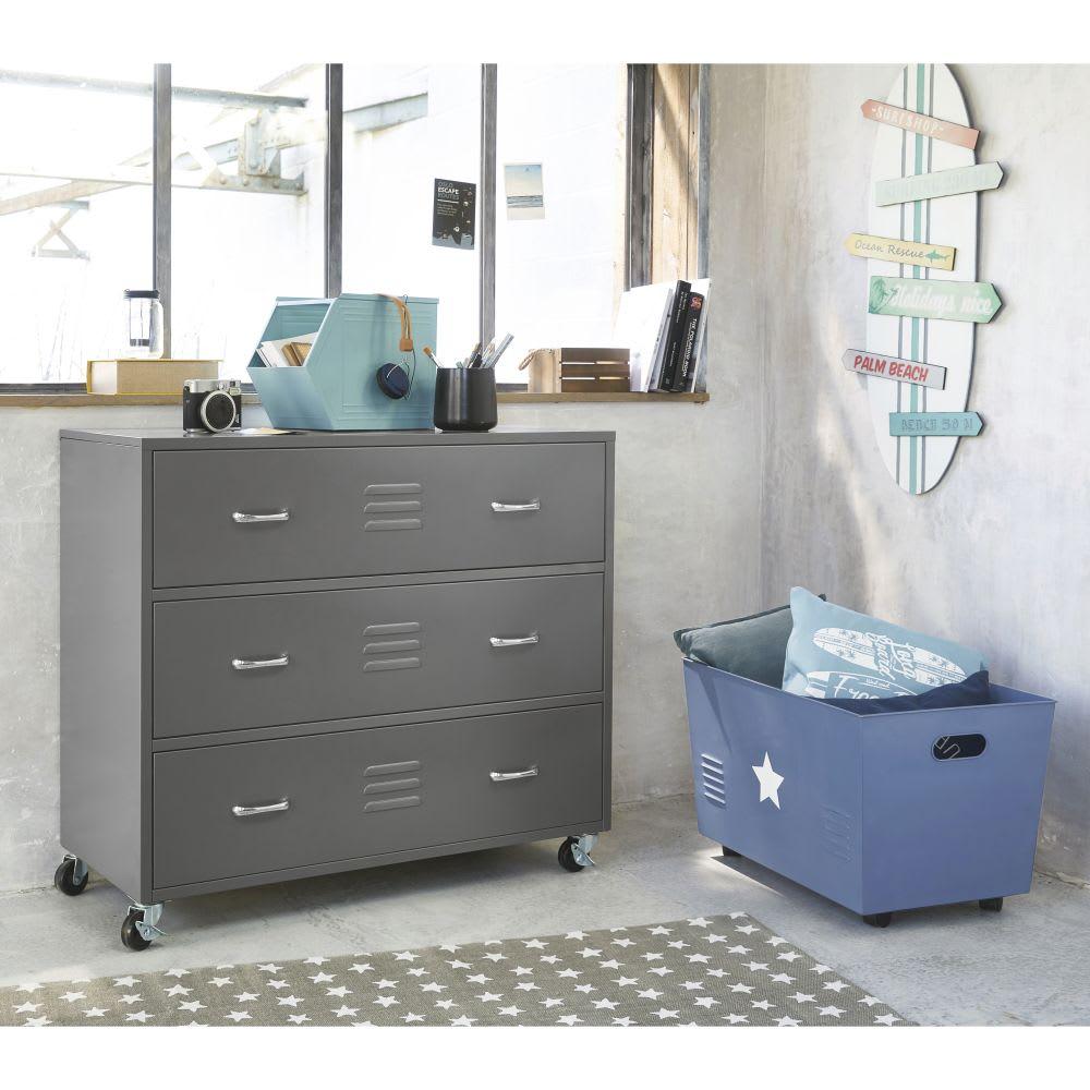 caisse de rangement roulettes en m tal bleu petit bolide maisons du monde. Black Bedroom Furniture Sets. Home Design Ideas