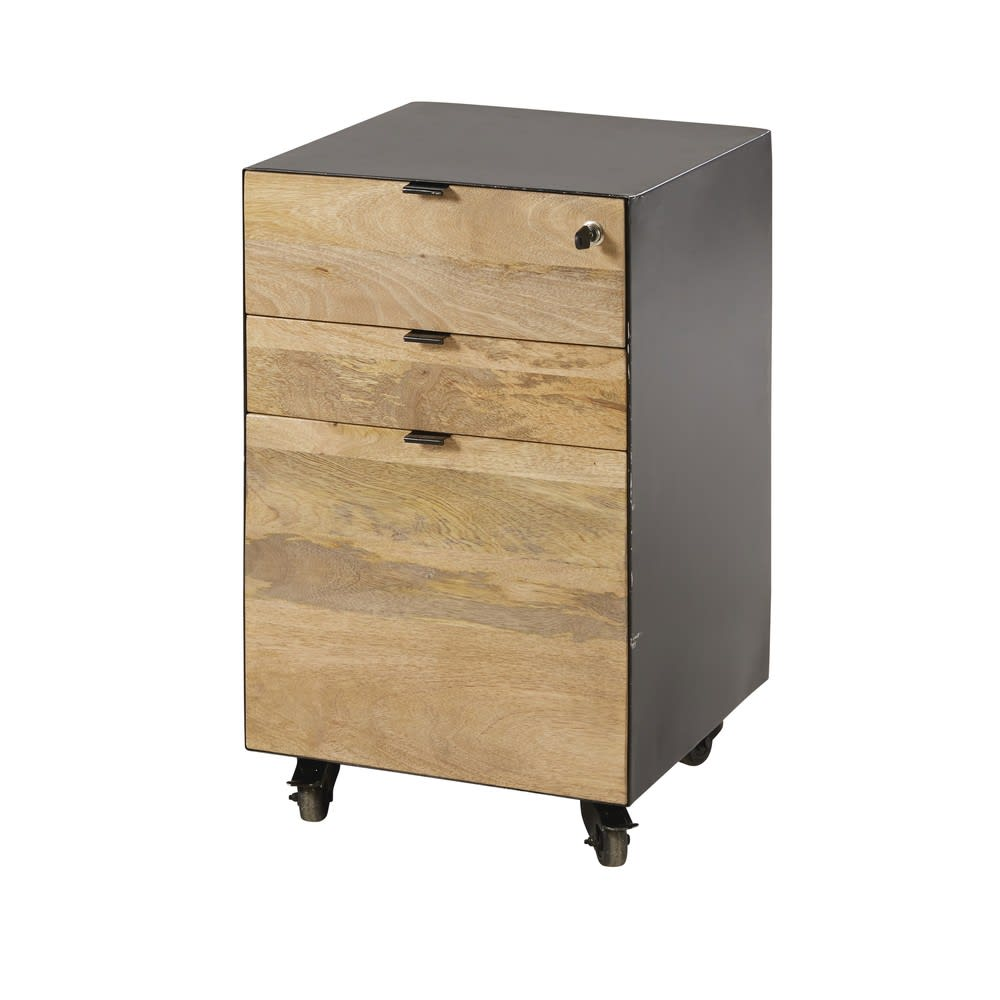 caisson de bureau indus en manguier et m tal noir hoxton pro maisons du monde. Black Bedroom Furniture Sets. Home Design Ideas