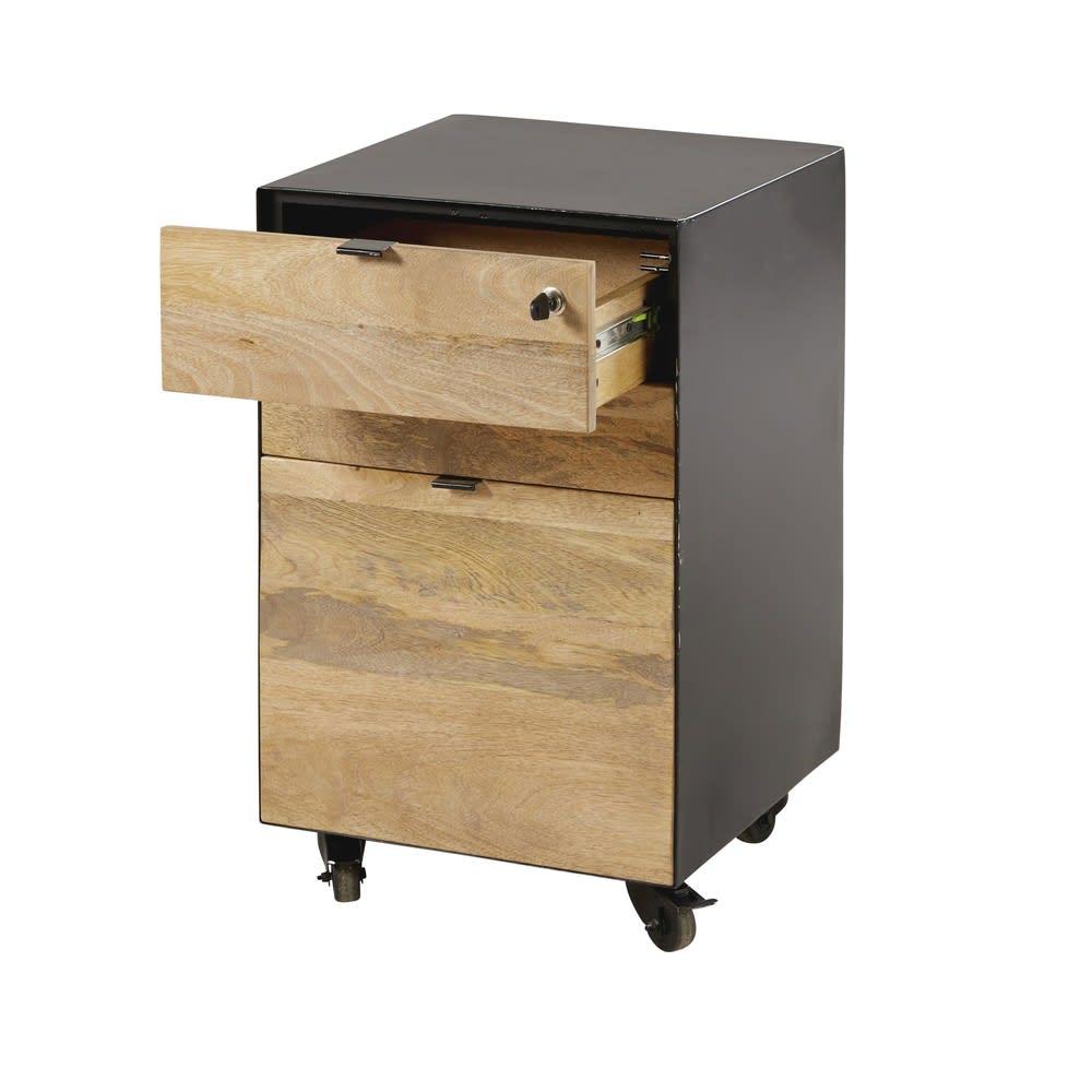 caisson de bureau indus en manguier et m tal noir hoxton. Black Bedroom Furniture Sets. Home Design Ideas