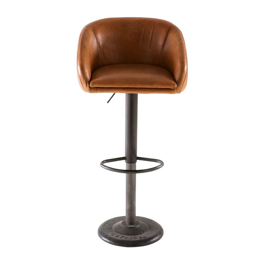 camel industrial leather bar chair gama maisons du monde. Black Bedroom Furniture Sets. Home Design Ideas