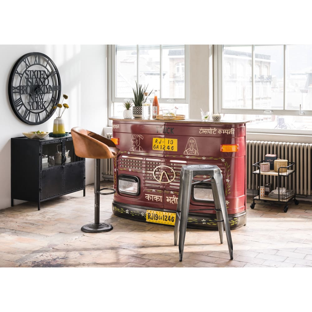Camel industrial leather bar chair gama recyclable furniture