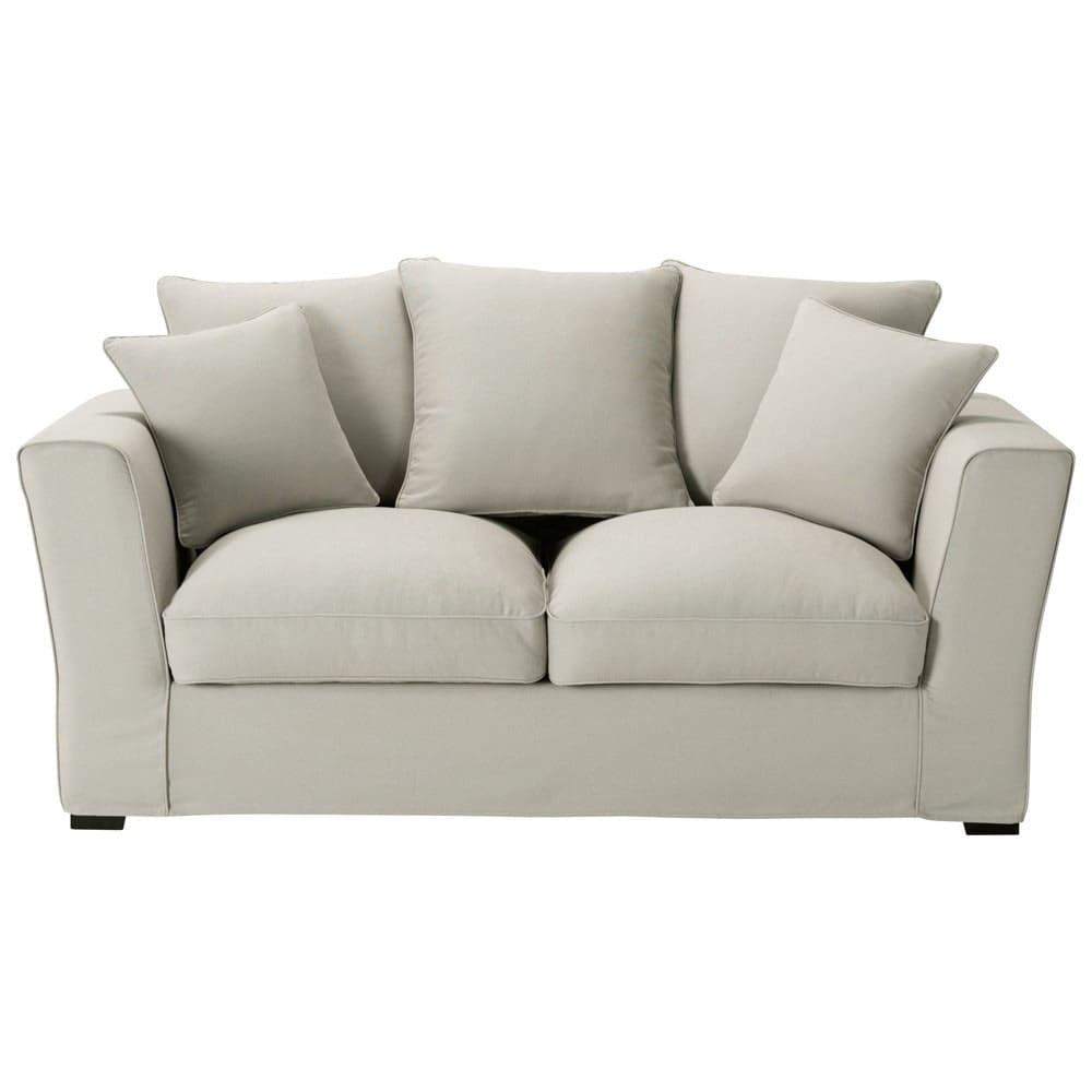 canap 2 3 places convertible coton gris clair balthazar. Black Bedroom Furniture Sets. Home Design Ideas