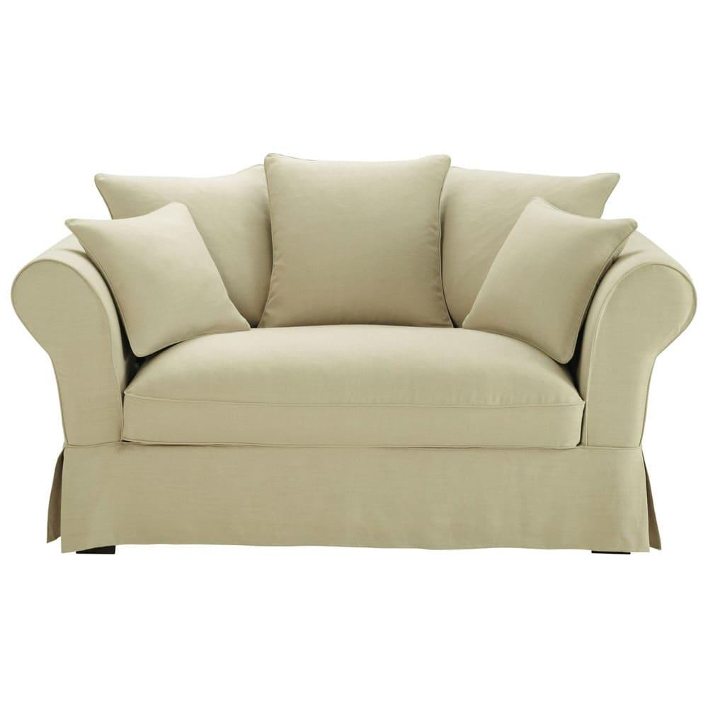 canap 2 3 places en lin beige roma maisons du monde. Black Bedroom Furniture Sets. Home Design Ideas