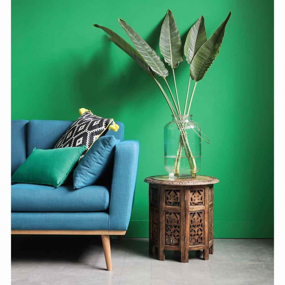 canap 2 places bleu p trole timeo maisons du monde. Black Bedroom Furniture Sets. Home Design Ideas