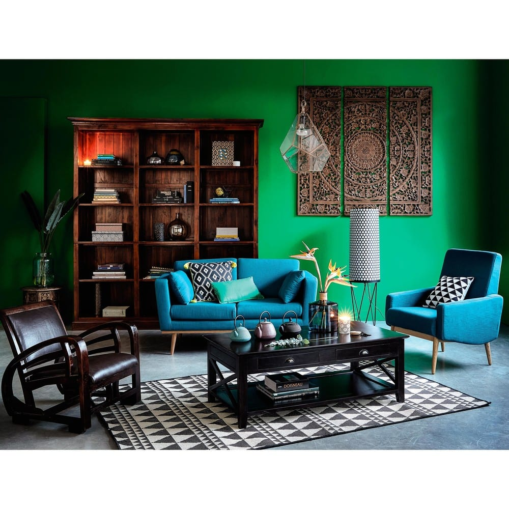 canap 2 places bleu p trole timeo maisons du monde. Black Bedroom Furniture Sets. Home Design Ideas