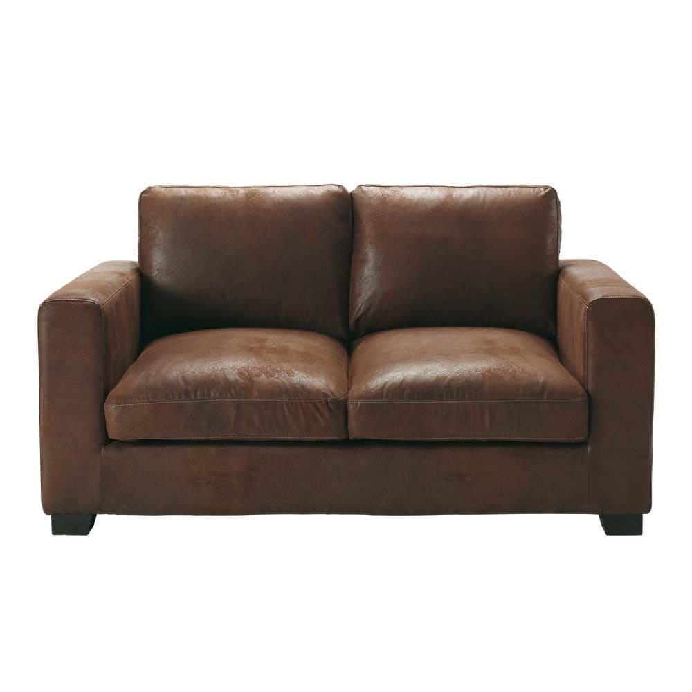 canap 2 places en su dine marron kennedy maisons du monde. Black Bedroom Furniture Sets. Home Design Ideas
