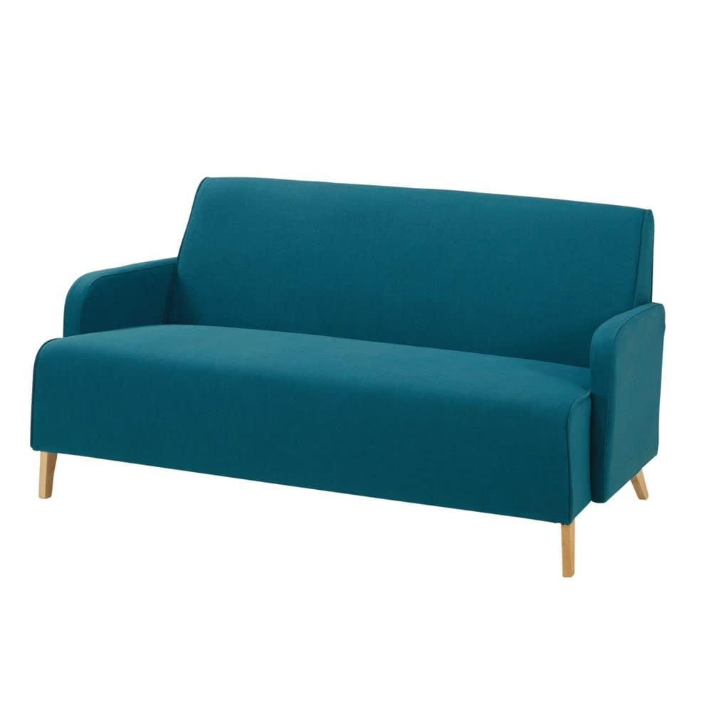 Canapé 2 Places En Tissu Bleu Pétrole Adam