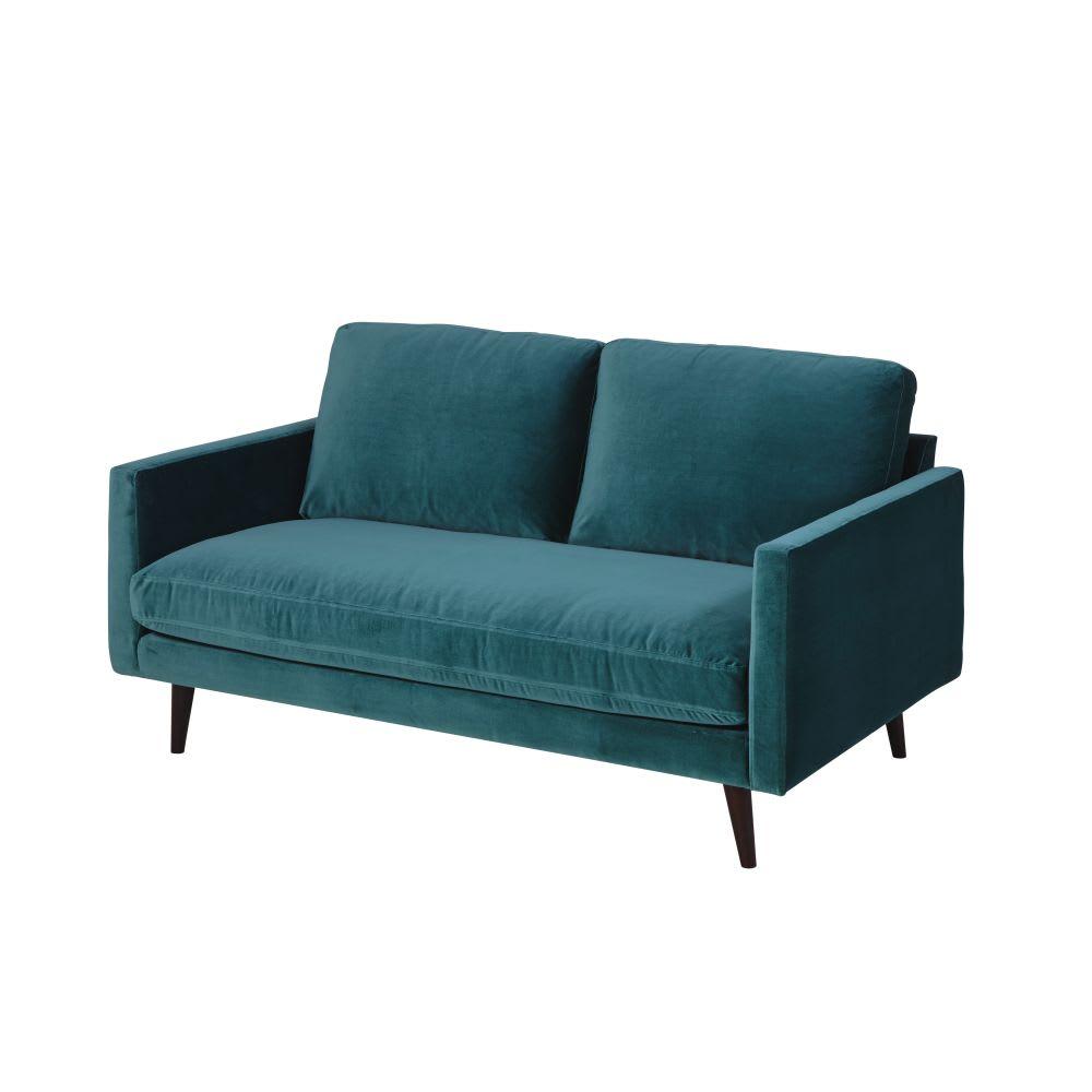 canap 2 places en velours bleu paon kant maisons du monde. Black Bedroom Furniture Sets. Home Design Ideas