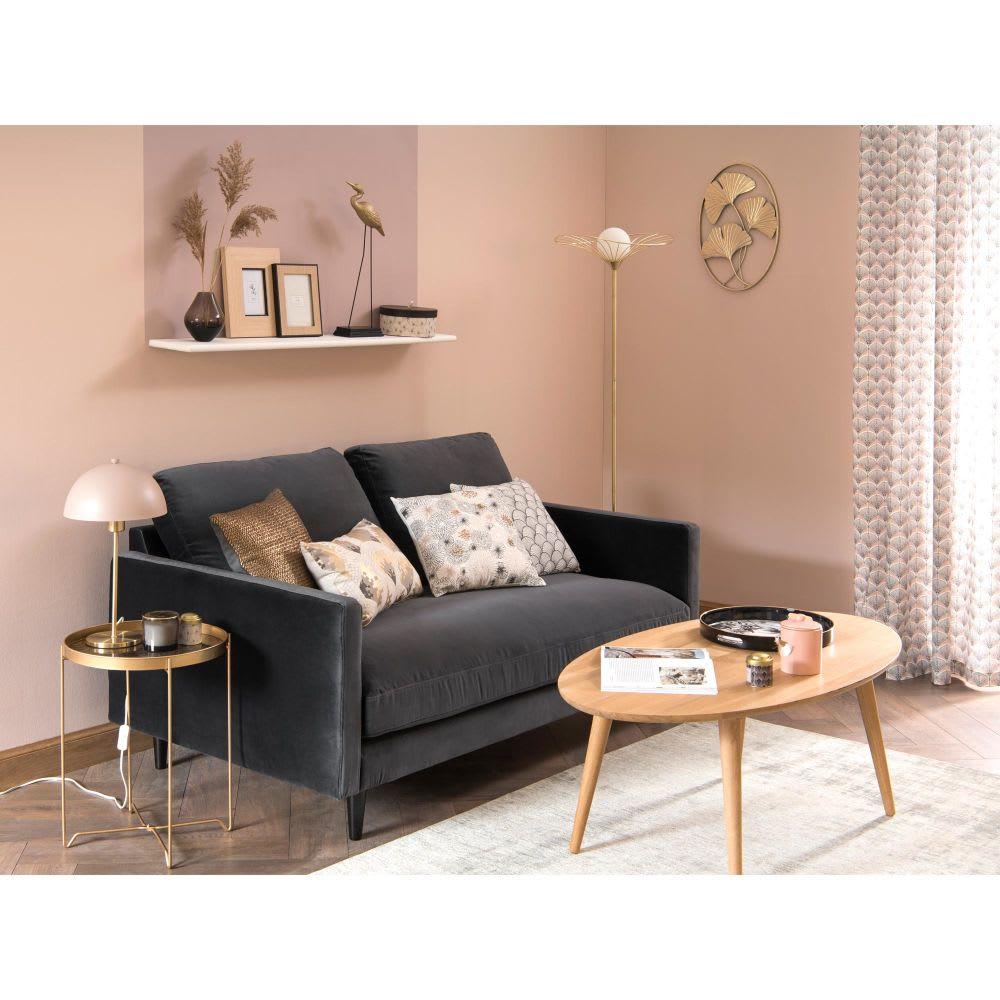 canap 2 places en velours gris kant maisons du monde. Black Bedroom Furniture Sets. Home Design Ideas
