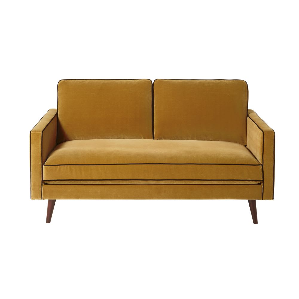 canap 2 places en velours jaune moutarde kant maisons. Black Bedroom Furniture Sets. Home Design Ideas
