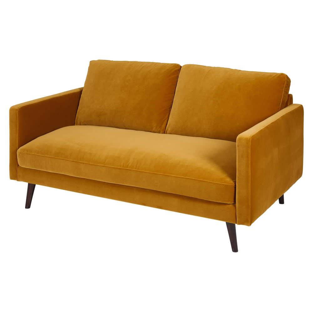 canap 2 places en velours jaune moutarde kant maisons du monde. Black Bedroom Furniture Sets. Home Design Ideas