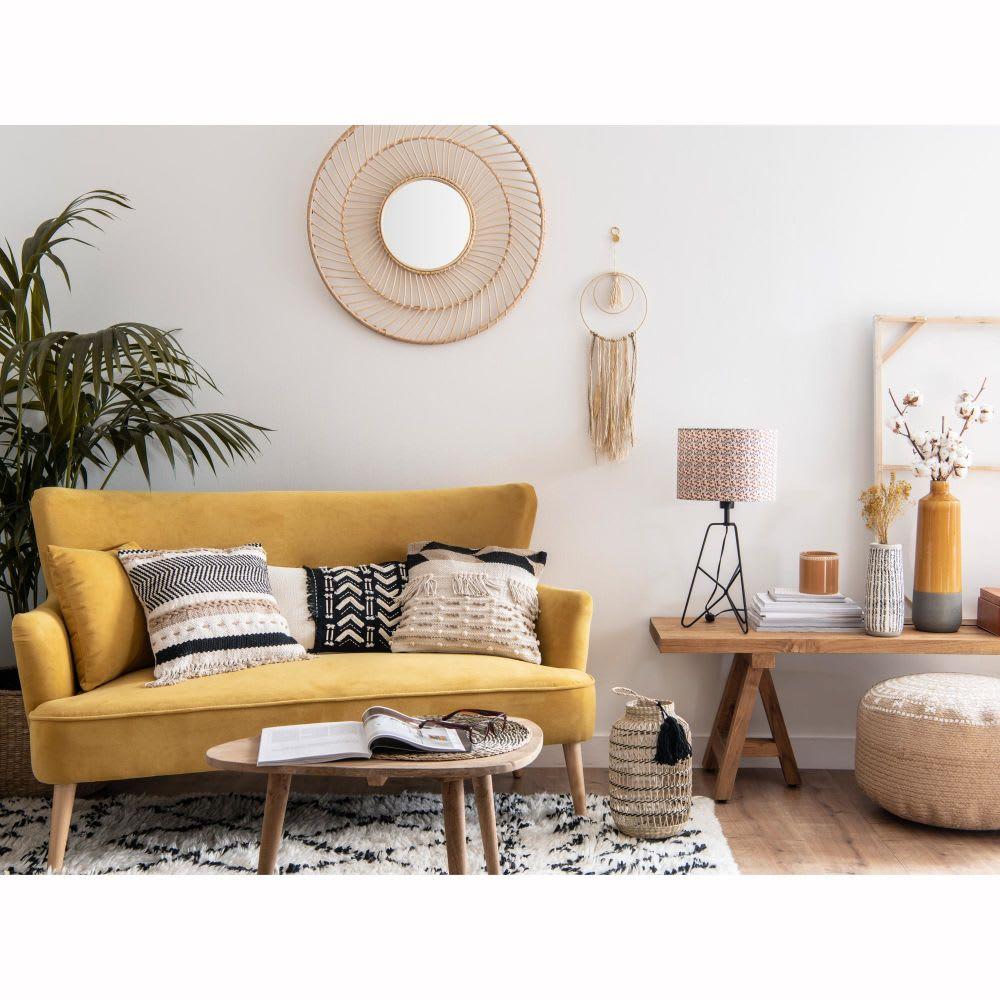 canap 2 places en velours jaune moutarde leon maisons. Black Bedroom Furniture Sets. Home Design Ideas