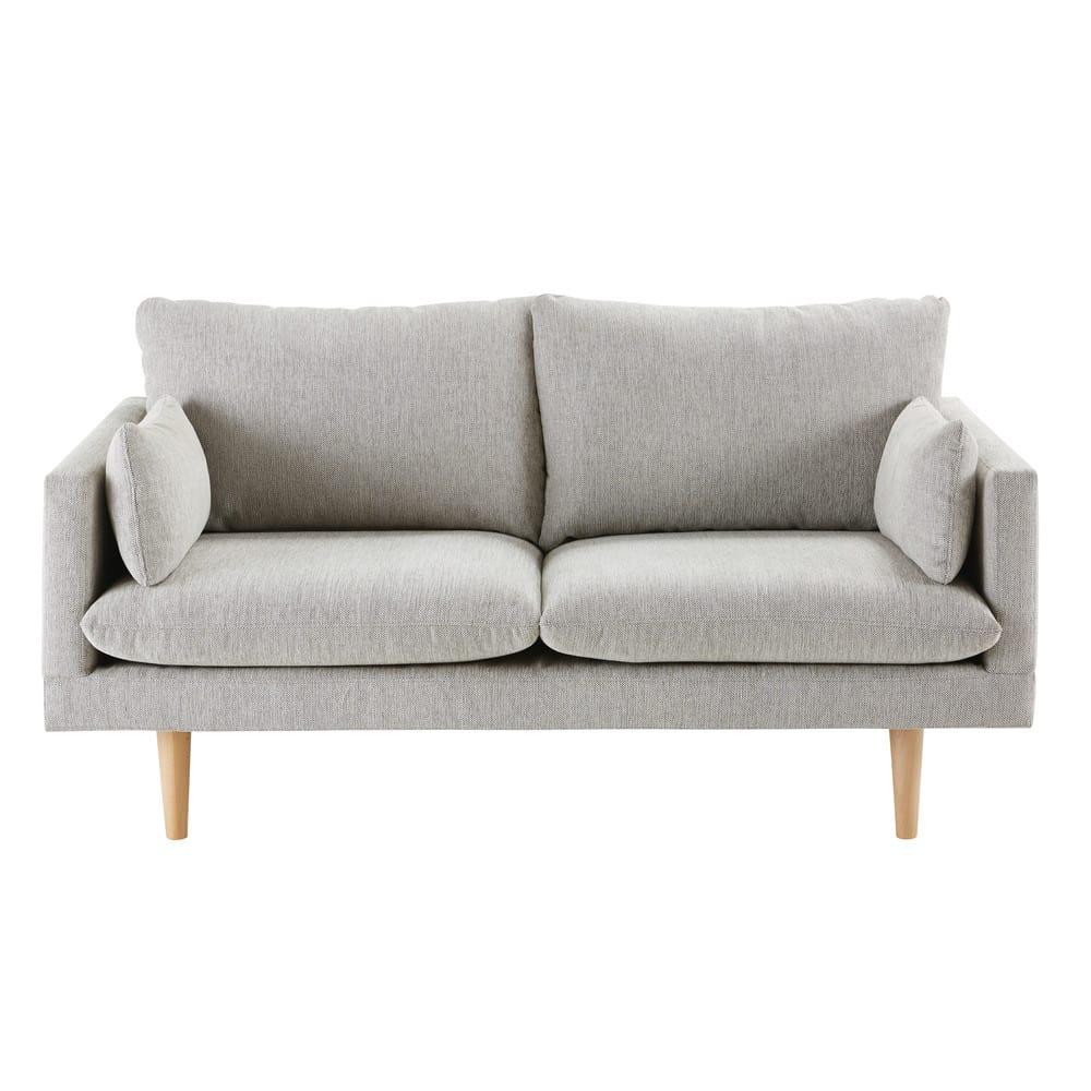 canap 2 places gris clair collins maisons du monde. Black Bedroom Furniture Sets. Home Design Ideas