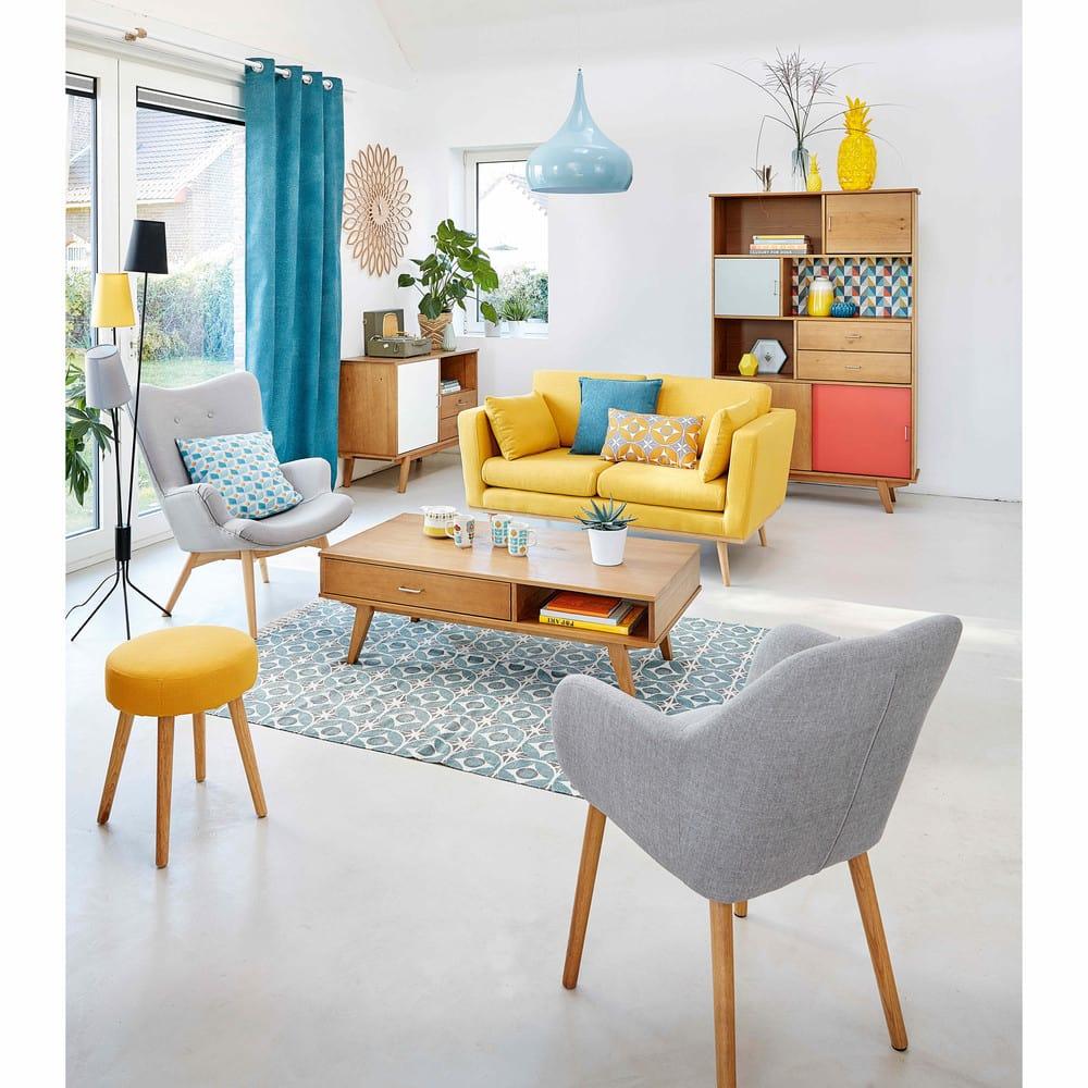 canap 2 places jaune timeo maisons du monde. Black Bedroom Furniture Sets. Home Design Ideas