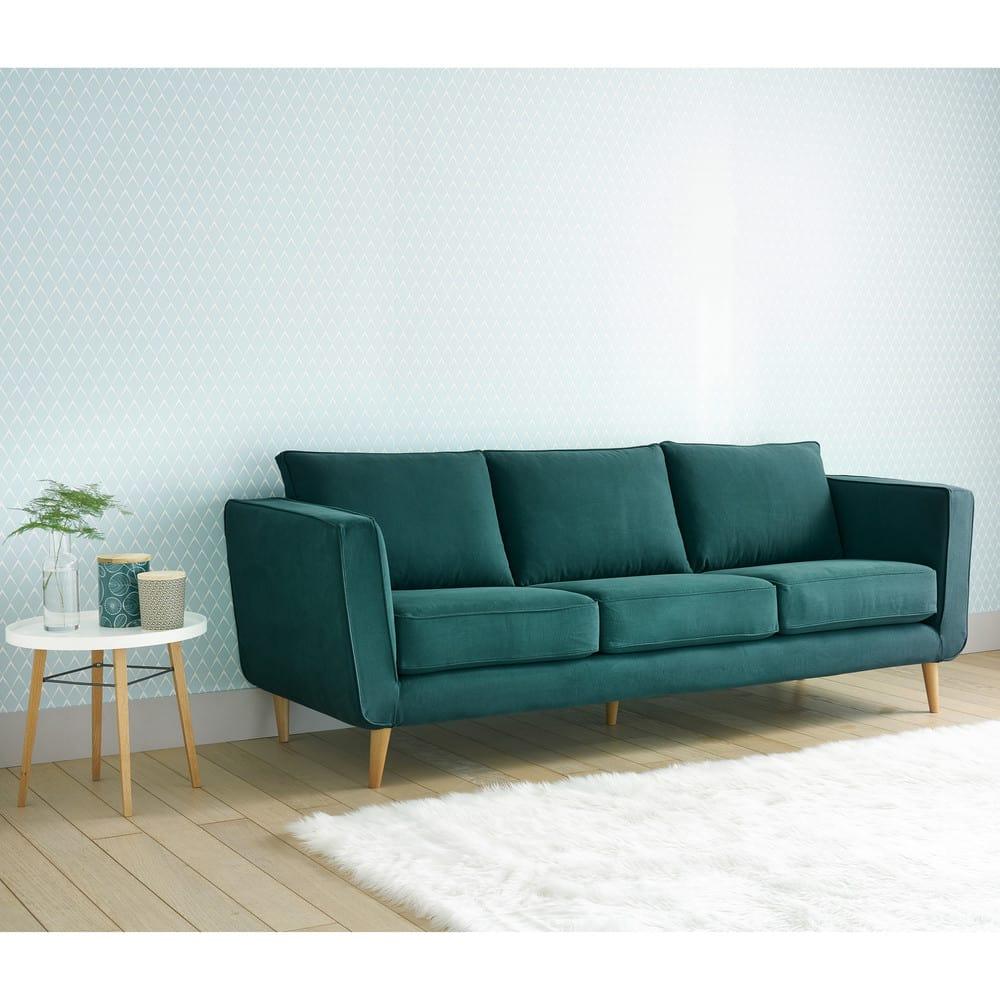 Canapé 3/4 places en coton et lin bleu canard Nils | Maisons du Monde