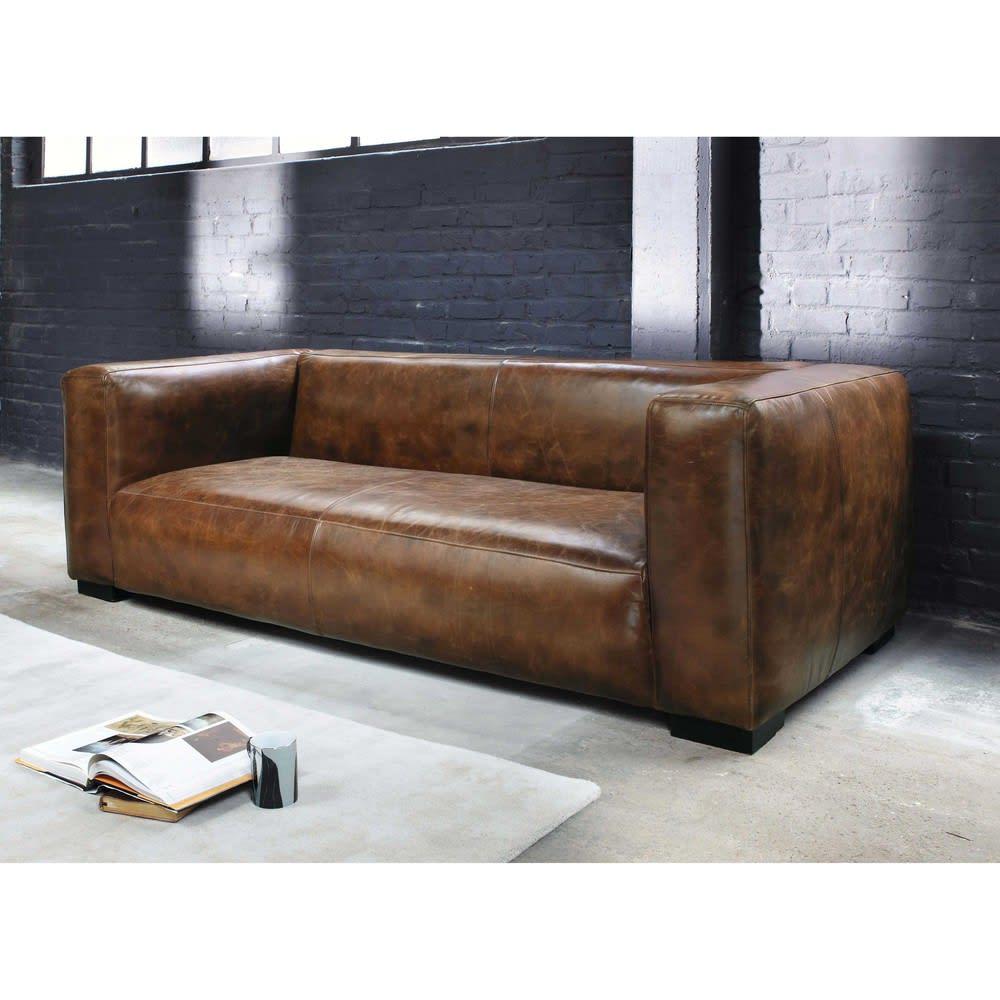 canap 3 4 places en cuir marron john maisons du monde. Black Bedroom Furniture Sets. Home Design Ideas