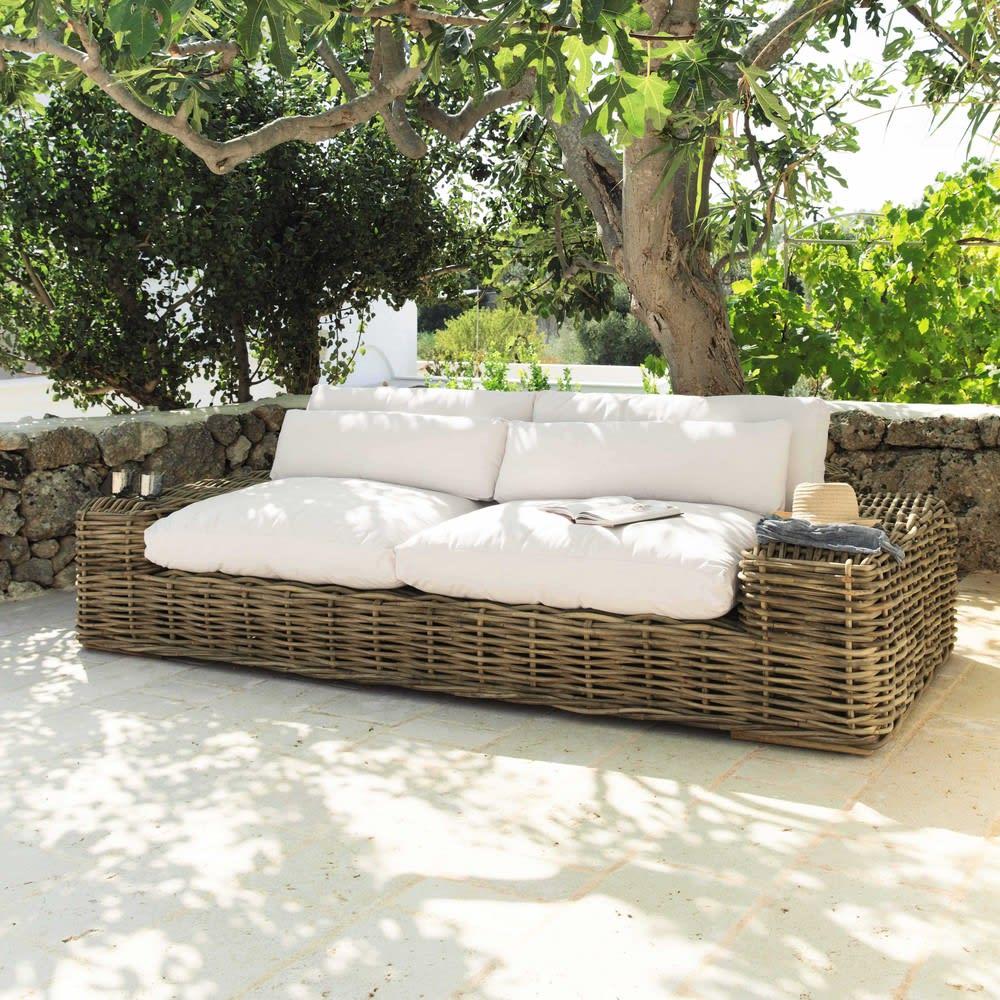 canap 3 4 places en rotin et tissu ivoire st tropez maisons du monde. Black Bedroom Furniture Sets. Home Design Ideas