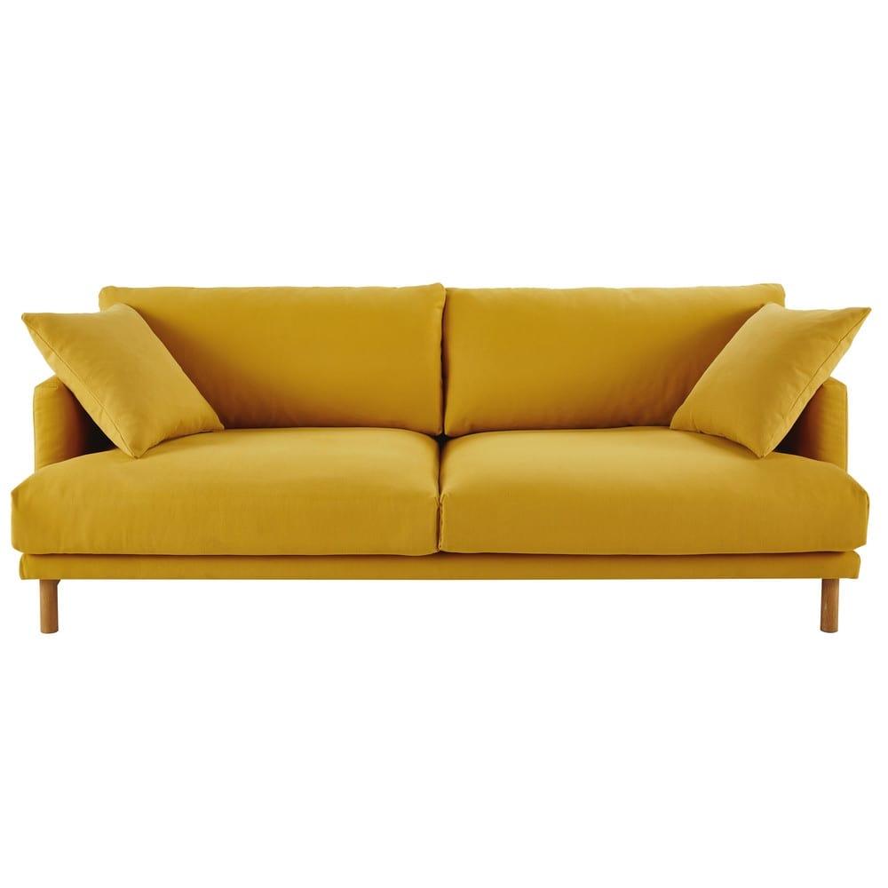 canap 3 places en coton et lin jaune moutarde raoul maisons du monde. Black Bedroom Furniture Sets. Home Design Ideas