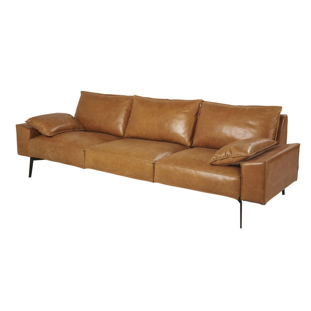 canap 3 places en cuir camel dyonisos maisons du monde. Black Bedroom Furniture Sets. Home Design Ideas