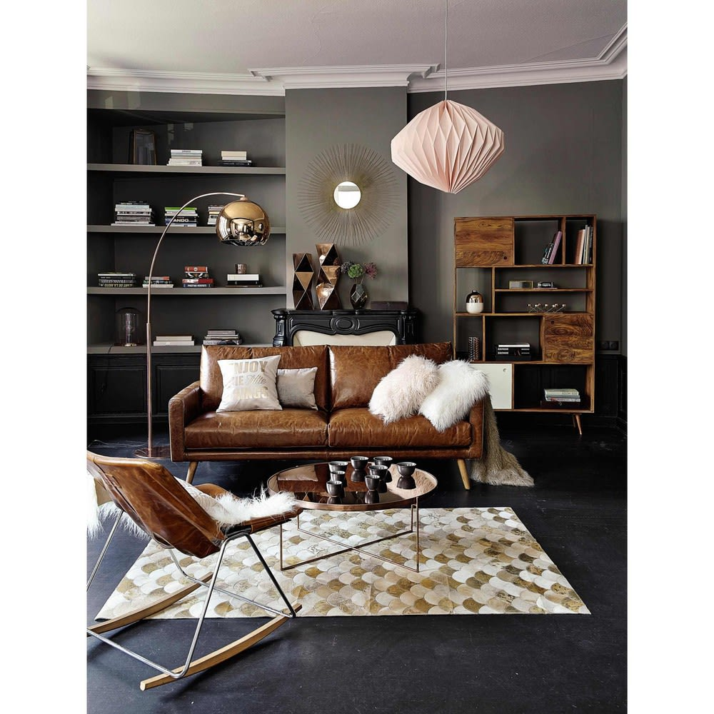 canap 3 places en cuir marron cognac hooper maisons du. Black Bedroom Furniture Sets. Home Design Ideas
